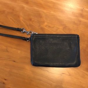 Coach Mini Leather Wristlet- Black